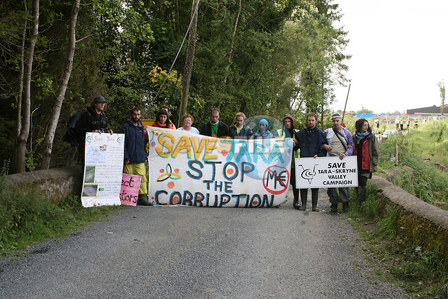 Protestors against the M3 Motorway blocked archaeologists as they tried to enter the site at Lismullin to begin excavating the site.  Gardai moved the protestors and the archaeologists gained entry...Photo NEWSFILE/Jenny Matthews.(Photo credit should read Jenny Matthews/NEWSFILE)....This Picture has been sent you under the condtions enclosed by:.Newsfile Ltd..The Studio,.Millmount Abbey,.Drogheda,.Co Meath..Ireland..Tel: +353(0)41-9871240.Fax: +353(0)41-9871260.GSM: +353(0)86-2500958.email: pictures@newsfile.ie.www.newsfile.ie.FTP: 193.120.102.198.