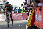 Wouter Poels (NED) Team Sky limps towards the finish line with a broken drive train after crashing in the lead on the last bend at the end of Stage 3, The Al Ain Stage, of the 2015 Abu Dhabi Tour starting from the Al Qattara Souq in Al Ain and running 129 km to the mountain top finish at Jebel Hafeet at 1025 metres, Abu Dhabi. 10th October 2015.<br /> Picture: ANSA/Angelo Carconi | Newsfile