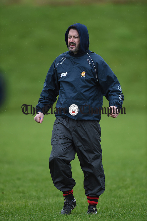 Clare coach/selector Donal Og Cusack in the warm up  before their Munster Senior Hurling League Round Four game against Waterford at Carriganore. Photograph by John Kelly.