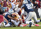 Washington Redskins free safety D.J. Swearinger (36) recovers a Dallas Cowboys quarterback Dak Prescott (4) fumble in the first quarter at FedEx Field in Landover, Maryland on Sunday, October 21, 2018.  Also defending on the play are Washington Redskins defensive end Jonathan Allen (93) and defensive tackle Matthew Ioannidis (98).  Dallas Cowboys running back Ezekiel Elliott (21) is at right.<br /> Credit: Ron Sachs / CNP