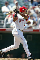Garret Anderson of the Los Angeles Angels bats during a 2002 MLB season game at Angel Stadium, in Anaheim, California. (Larry Goren/Four Seam Images)