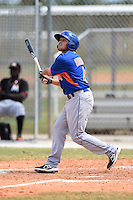 New York Mets outfielder Patrick Biondi (4) during a minor league spring training game against the Miami Marlins on March 28, 2014 at Roger Dean Stadium in Jupiter, Florida.  (Mike Janes/Four Seam Images)