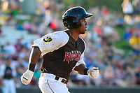 Wisconsin Timber Rattlers designated hitter Darren Seferina (9) runs to first base during a Midwest League game against the Clinton LumberKings on June 29, 2018 at Fox Cities Stadium in Appleton, Wisconsin. Clinton defeated Wisconsin 9-7. (Brad Krause/Four Seam Images)