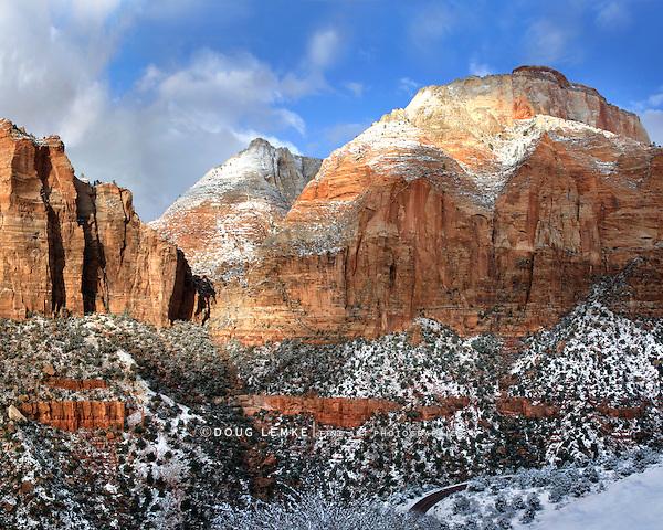Great Sandstone Peaks In Winter Towering Above The Virgin River Just North Of Springdale Utah In Zion National Park, USA