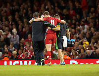 Pictured: Injured George North of Wales is helped off the pitch Saturday 22 November 2014<br />