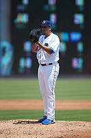 Durham Bulls starting pitcher Jose De Leon (37) looks to his catcher for the sign against the Columbus Clippers at Durham Bulls Athletic Park on June 1, 2019 in Durham, North Carolina. The Bulls defeated the Clippers 11-5 in game one of a doubleheader. (Brian Westerholt/Four Seam Images)