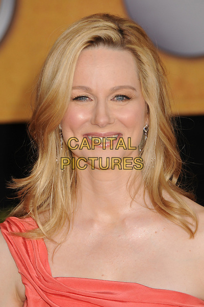 LAURA LINNEY.The 15th Annual Screen Actors Guild Awards held at the Shrine Auditorium, Los Angeles, California, USA..January 25th, 2009.SAG arrivals headshot portrait one shoulder pink orange peach coral .CAP/ADM/BP.©Byron Purvis/AdMedia/Capital Pictures.