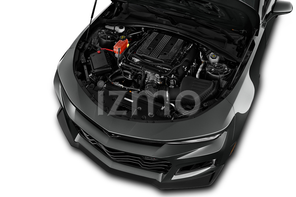 Car Stock 2018 Chevrolet Camaro ZL1 2 Door Coupe Engine  high angle detail view