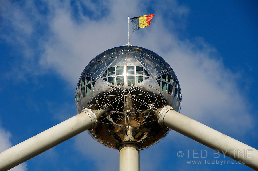 View of the upper sphere of the Atomium in Brussels, Belgium
