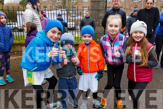 Waiting for the starters order at the Junior Parkrun in the Tralee Town park on Sunday morning last. L-r Luke Hanafin O'Mara, Ryan Lynch, Ruby Lynch, Aoibheann Walsh and Ellen Ryan.