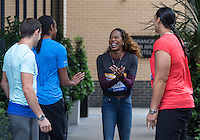 Sanya Richards-Ross (2nd right) of USA (400m) is in high spirits during Pre Event Press Conference at Grange Tower Bridge Hotel, Prescott Street, The Sainsbury's Anniversary Games Diamond League Event. London, England on 23 July 2015. Photo by Andy Rowland.
