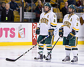 Dean Strong (Vermont - 8), Peter Lenes (Vermont - 3) - The Boston College Eagles defeated the University of Vermont Catamounts 4-0 in the Hockey East championship game on Saturday, March 22, 2008, at TD BankNorth Garden in Boston, Massachusetts.