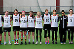 FRANKFURT AM MAIN, GERMANY - April 14: (L-R) Laura Koschorek #17 of Germany, Anna Blank #16 of Germany, Colleen O'Connor #15 of Germany, Lisa Neubert #14 of Germany, Katharina Schroer #13 of Germany, Eva Schulte #12 of Germany, Julia Duerr #11 of Germany, Nora Schroeder #10 of Germany, Kristina Schaefer #9 of Germany during the national anthem before the Deutschland Lacrosse International Tournament match between Germany vs Great Britain during the on April 14, 2013 in Frankfurt am Main, Germany. Great Britain won, 10-9. (Photo by Dirk Markgraf)
