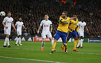 Gonzalo Higuain of Juventus scores his side's first goal  <br /> <br /> Photographer Rob Newell/CameraSport<br /> <br /> UEFA Champions League Round of 16 Second Leg - Tottenham Hotspur v Juventus - Wednesday 7th March 2018 - Wembley Stadium - London <br />  <br /> World Copyright &copy; 2017 CameraSport. All rights reserved. 43 Linden Ave. Countesthorpe. Leicester. England. LE8 5PG - Tel: +44 (0) 116 277 4147 - admin@camerasport.com - www.camerasport.com
