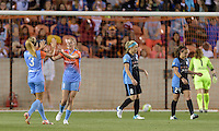 Houston, TX - Saturday April 16, 2016: Houston Dash forward Janine Beckie (11) celebrates scoring with Houston Dash forward Rachel Daly (3) during a National Women's Soccer League (NWSL) match against the Chicago Red Stars at BBVA Compass Stadium.