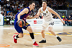 Jaycee Carroll of Real Madrid and Kyle Kuric of FC Barcelona Lassa during Turkish Airlines Euroleague match between Real Madrid and FC Barcelona Lassa at Wizink Center in Madrid, Spain. December 13, 2018. (ALTERPHOTOS/Borja B.Hojas)