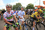 Polka Dot Jersey Nathan Brown (USA) Cannondale Drapac, White Jersey Pierre Roger Latour (FRA) AG2R La Mondiale and Yellow Jersey Geraint Thomas (WAL) Team Sky line up for the start in Mondorf-les-Bains of Stage 4 of the 104th edition of the Tour de France 2017, running 207.5km from Mondorf-les-Bains, Luxembourg to Vittel, France. 4th July 2017.<br /> Picture: Eoin Clarke | Cyclefile<br /> <br /> <br /> All photos usage must carry mandatory copyright credit (&copy; Cyclefile | Eoin Clarke)