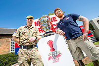 Picture by Allan McKenzie/SWpix.com - 14/06/2018 - Commercial - Rugby League - Rugby League World Cup 2021 Ambassador Unveil, Marne Barracks, Catterick, England - Captain Martin Hughes & James Simpson with the Rugby League World Cup.