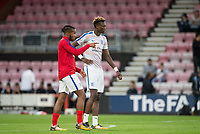 Chelsea on loan teammates Tammy Abraham (Swansea City) & Kasey Palmer (Huddersfield Town) of England U21 ahead of the FIFA World Cup qualifying match between England and Slovakia at Wembley Stadium, London, England on 4 September 2017. Photo by PRiME Media Images.