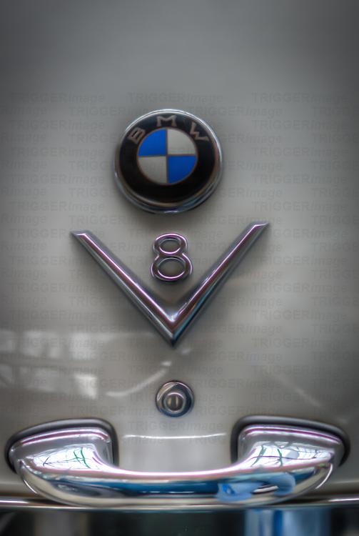 Classic car. Close up of BMW V8 symbol