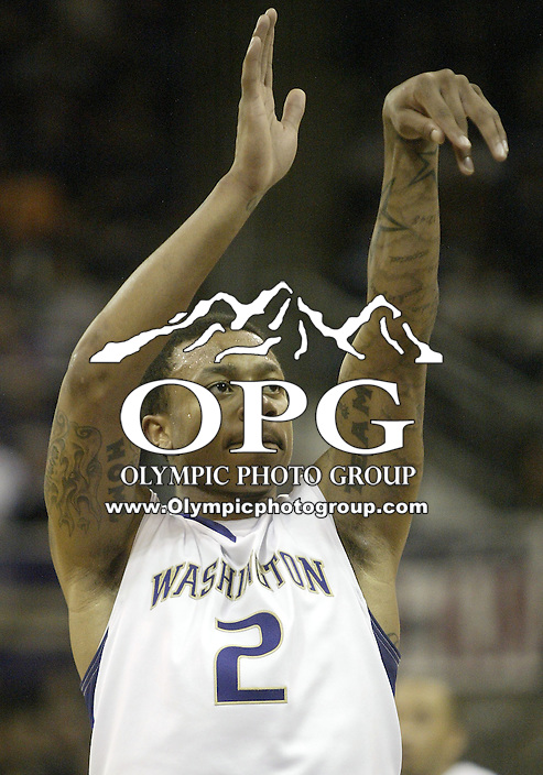 14 January 2010:  Washington Huskies guard #2 Isaiah Thomas shoots a free throw against Stanford. Washington won 94-61over Stanford at the Bank of America Arena in Seattle, WA.