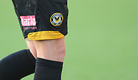 Closeup detail of Newport County's David Pipe's shorts, displaying the Newport County crest<br /> <br /> Photographer Kevin Barnes/CameraSport<br /> <br /> The EFL Sky Bet League Two - Newport County v Colchester United - Saturday 17th November 2018 - Rodney Parade - Newport<br /> <br /> World Copyright © 2018 CameraSport. All rights reserved. 43 Linden Ave. Countesthorpe. Leicester. England. LE8 5PG - Tel: +44 (0) 116 277 4147 - admin@camerasport.com - www.camerasport.com