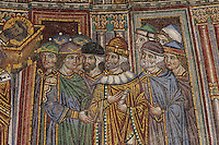 Detail from the mosaic of the procession of the relics of St Mark to St Mark's Basilica, c. 1270-75, above the St Alipius Gate, a lateral portal of St Mark's Basilica, or Basilica San Marco, Venice. This is the oldest mosaic in the building and the oldest representation of the basilica. It is also thought to represent crowds celebrating the crowning of a new doge. The basilica was consecrated 1084-1117 and was originally the chapel of the Doge, becoming the city's cathedral in 1807. The city of Venice is an archipelago of 117 small islands separated by canals and linked by bridges, in the Venetian Lagoon. The historical centre of Venice is listed as a UNESCO World Heritage Site. Picture by Manuel Cohen