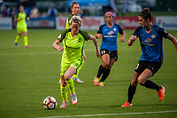 Kansas City, MO - Saturday June 17, 2017: Megan Rapinoe, Yael Averbuch during a regular season National Women's Soccer League (NWSL) match between FC Kansas City and the Seattle Reign FC at Children's Mercy Victory Field.