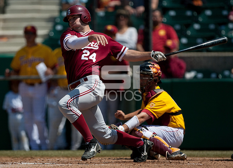LOS ANGELES, CA - April 10, 2011: Jake Stewart of Stanford baseball hits during Stanford's game against USC at Dedeaux Field in Los Angeles. Stanford lost 6-2.