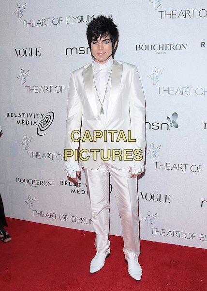 ADAM LAMBERT .Attending The Art of Elysium's 3rd Annual Black Tie Charity Gala Heaven.at the Beverly Hilton, Beverly Hills, CA, USA, January 16th 2010..arrivals  full length white suit shirt jacket shoes fingerless gloves .CAP/ADM/TC.©T.Conrad/Admedia/Capital Pictures