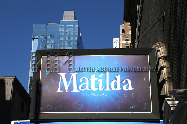 'Matilda'- The Musical' Theatre Marquee unveiled at the Shubert Theatre in New York, NY on September 14, 2012