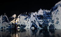"""An installation similar to Hokosai's """"wave / tsunami"""" woodblock print in Team Lab's Borderless digital museum in Tokyo, Japan, July, 2019. The digital museum is one of Tokyo's most popular attractions and uses innovative digital audio-visual displays."""