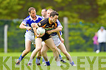 Barry O'Grady and Danny Wren Shannon Rangers in action against Paul O'Donoghue Stacks in the First Round of the Kerry Senior Football Championship at O'Rahilly Park Ballylongford on Sunday.