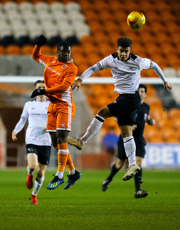 Blackpool's Andy Kanga battles with Derby County's Kornell McDonald<br /> <br /> Photographer Alex Dodd/CameraSport<br /> <br /> The FA Youth Cup Third Round - Blackpool U18 v Derby County U18 - Tuesday 4th December 2018 - Bloomfield Road - Blackpool<br />  <br /> World Copyright © 2018 CameraSport. All rights reserved. 43 Linden Ave. Countesthorpe. Leicester. England. LE8 5PG - Tel: +44 (0) 116 277 4147 - admin@camerasport.com - www.camerasport.com