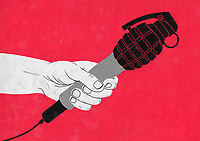 Hand holding grenade microphone ExclusiveImage
