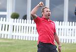 Scott Quinnell celebrates after holing a bunker shot.<br /> <br /> Celebrity Cup Golf<br /> Celtic Manor Resort<br /> 04.07.14<br /> &copy;Steve Pope-SPORTINGWALES