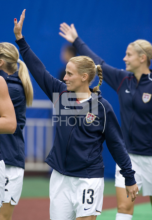 USA forward (13) Kristine Lilly during pre-game warmups. The United States (USA) and North Korea (PRK) played to a 2-2 tie during a FIFA Women's World Cup China 2007 opening round Group B match at Chengdu Sports Center Stadium, Chengdu, China, on September 11, 2007.