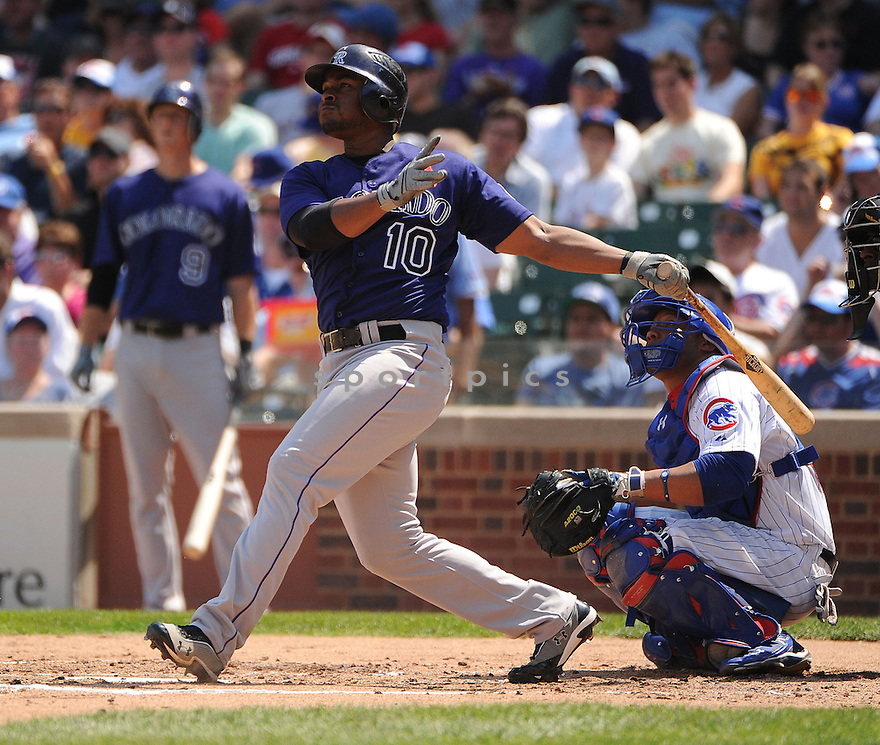 Colorado Rockies Chris Nelson (10) in action during a game against the Chicago Cubs on August 24, 2012 at Wrigley Field in Chicago, IL. The Cubs beat the Rockies 5-3.