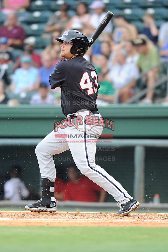 First baseman Brent Tanner (43) of the Kannapolis Intimidators in a game against the Greenville Drive on Monday, August 5, 2013, at Fluor Field at the West End in Greenville, South Carolina. Kannapolis won, 3-0. (Tom Priddy/Four Seam Images)