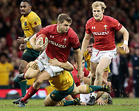 Wales' Dan Biggar is tackled by Australia's Tom Robertson<br /> <br /> Photographer Simon King/CameraSport<br /> <br /> International Rugby Union - 2017 Under Armour Series Autumn Internationals - Wales v Australia - Saturday 11th November 2017 - Principality Stadium - Cardiff<br /> <br /> World Copyright &copy; 2017 CameraSport. All rights reserved. 43 Linden Ave. Countesthorpe. Leicester. England. LE8 5PG - Tel: +44 (0) 116 277 4147 - admin@camerasport.com - www.camerasport.com