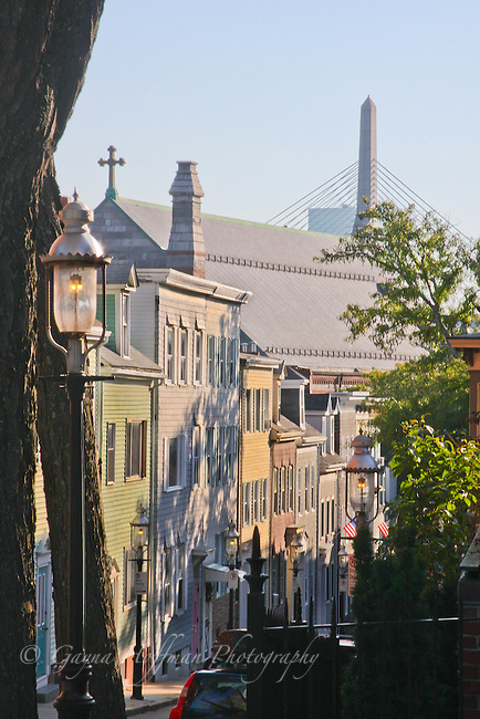 Charlestown homes and Leonard P. Zakim-Bunker Hill Memorial Bridge in background.