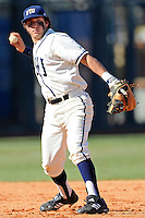 28 February 2010:  FIU's Garrett Wittels (10) throws to first as the FIU Golden Panthers defeated the Oral Roberts Golden Eagles, 7-6 (10 innings), at University Park Stadium in Miami, Florida.