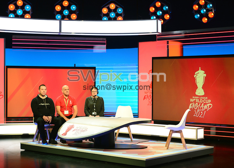 Picture by Simon Wilkinson/SWpix.com - 28/01/2019 - RLWC 2021 Rugby League World Cup Host City Reveal BBC Match of the Day Studio - Dock 10 Media City Salford<br /> - TV studio and production gallery Ian Powell