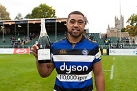 Man of the Match Taulupe Faletau of Bath Rugby poses with his bottle of champagne after the match. Aviva Premiership match, between Bath Rugby and Worcester Warriors on October 7, 2017 at the Recreation Ground in Bath, England. Photo by: Patrick Khachfe / Onside Images
