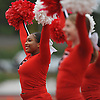 Tamiah Simpson and the Freeport varsity cheerleaders entertain the crowd during a Nassau County Conference I varsity football game between the Red Devils and Oceanside at Freeport High School on Friday, Sept. 21, 2018.