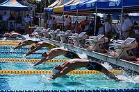 Santa Clara, California - Sunday June 5, 2016: Santa Clara, California - Sunday June 5, 2016: Men's 200 LC Meter Backstroke start at the Arena Pro Swim Series at Santa Clara morning Session.