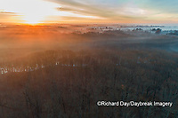 63895-16907 Sunrise and fog Stephen A. Forbes State Park-aerial-Marion Co. IL
