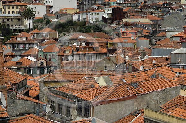 Oporto-Portugal, July 28, 2009 -- Roofs of original, old houses in the historic centre of Porto; architecture -- Photo: Horst Wagner / eup-images