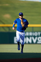 AZL Cubs 1 center fielder Zac Taylor (83) jogs off the field between innings of an Arizona League game against the AZL Angels on June 24, 2019 at Sloan Park in Mesa, Arizona. AZL Cubs 1 defeated the AZL Angels 12-0. (Zachary Lucy / Four Seam Images)