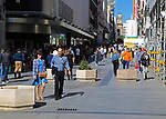 Shoppers in pedestrianised street, Calle Preciadios,  Madrid city centre, Spain